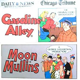 Moon Mullins - In 1973, the Moon Mullins radio program was issued on this LP produced by George Garabedian for Mark 56 Records. The sleeve notes were by radio historian Jim Harmon.