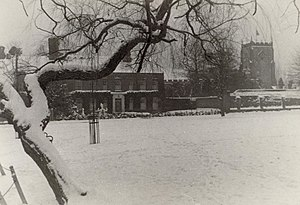 Writtle green and church, in snow, c1935