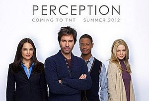 Perception (U.S. TV series) - The cast of Perception: (l–r) Rachael Leigh Cook, Eric McCormack, Arjay Smith and Kelly Rowan