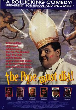 The Pope Must Die - Canadian video poster for The Pope Must Die, renamed The Pope Must Diet!