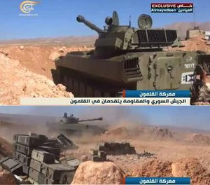 Qalamoun offensive (May–June 2015) - Syrian Army self-propelled howitzers firing during operations in Qalamoun