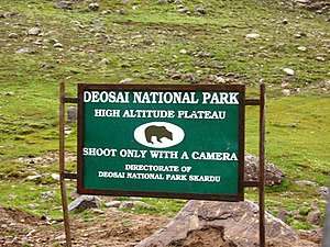 Deosai National Park - Image: Sign board by Directorate of Deosai National Park, Skardu