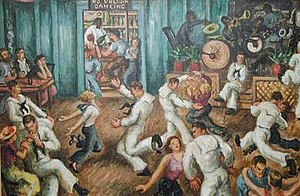Waldo Peirce - The Silver Slipper dance hall adjacent to Sloppy Joe's, painted in the 1930s