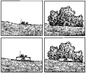 Hull-down - Front view of a tank in turret-down and hull-down positions. A vehicle in a position with a background is more difficult to observe than one which is sky-lined.