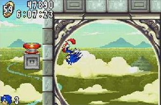 Sonic Advance - Gameplay screenshot showing Sonic in one of the game's levels
