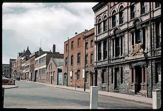 Gun Quarter - Photograph of the now demolished St. Mary's Row, viewed from Loveday Street. W W Greener, Prize Gun Works is on the right.