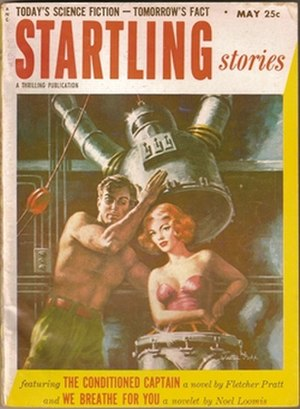 Startling Stories - The May 1953 cover, by Walter Popp, demonstrates the sober look the magazine acquired later in its life, with a staid title typeface and slightly more realistic cover art