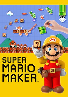 Mario, wearing a construction worker outfit is holding a ? Block next to the game's logo. On the top a hand is making a course done in the style of the original Super Mario Bros. for the NES.