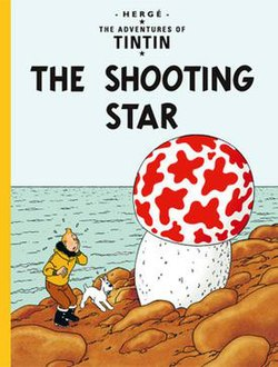 Book cover. Tintin and Snowy in the bottom left corner look up, surprised, at a giant, red-and-white mushroom at the right.