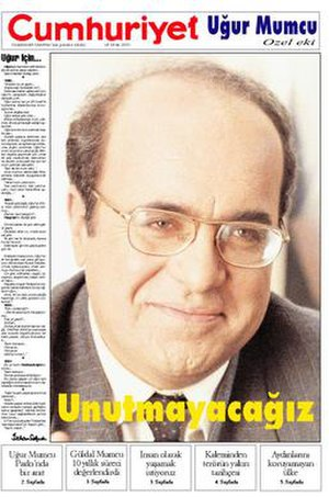 1993 in Turkey - Image: Ugur Mumcu Cumhuriyet 24cu 01