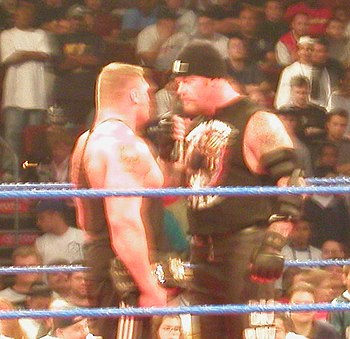 Undertaker %26 Brock Lesnar standing face to face