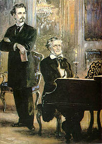 King Ludwig II of Bavaria with Wagner at piano