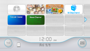 Wii Menu - The Wii Menu as displayed in the widescreen (16:9) format.