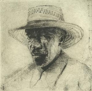 "Stephen Scott Young - ""Pierre,"" copperplate etching, 1998"