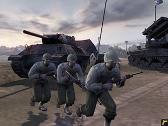 Company of Heroes - An M10 Wolverine and American troops in the Essence Engine.