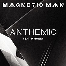 A portrait of black background with a black triangle and white paper under the triangle, Up on the capital word is 'MAGNETIC MAN' on Middle capital word is 'ANTHEMIC' and middle down is 'FEAT. P MONEY'