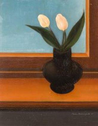 Post-expressionism - Tulpen auf der Fensterbank by Anton Räderscheidt, 1926