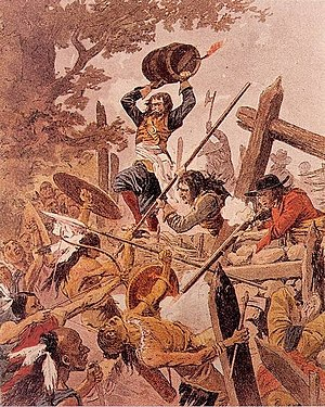 Adam Dollard des Ormeaux - Engraving depicting Adam Dollard with a keg of gunpowder above his head, during the Battle of Long Sault.