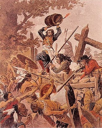 New France - Engraving depicting Adam Dollard with a keg of gunpowder above his head, during the Battle of Long Sault
