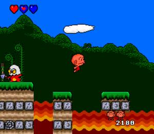 Bonk's Adventure - Screenshot of the TurboGrafx-16 version.
