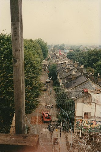M11 link road protest - The view from the tower in Claremont Road, Leyton.