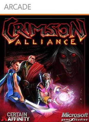 Crimson Alliance - Crimson Alliances cover artwork depicting the game's character classes:  (from left to right) Assassin, Mercenary and Wizard.