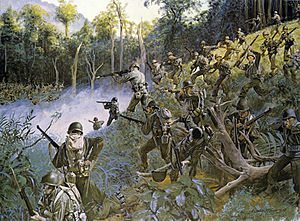 "158th Infantry Regiment (United States) - ""Cuidado – Take Care, Bushmasters!"" A painting depicting the 158th during the Bicol Campaign on Luzon, Philippine Islands, 3–4 April 1945."