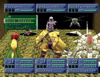 Digimon - The player battles with three Digimon: Rosemon, WarGreymon, and SkullGreymon. The opponent's Digimon are Ninjamon, Centarumon, and SandYanmamon. Battling is an integral concept of the Digimon video game series and media franchise.