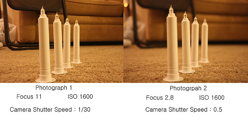 The photograph 1 shows all objects very clearly because of the high aperture. The photograph 2 image shows an object with right focus but rest of the ...