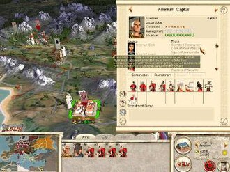 Rome: Total War - Julii family member with several traits and his retinue. Family members can command troops in tactical battles and help maintain order in cities, with effectiveness depending on their level of experience. Character traits can prove to cause both beneficial advantages as well as weaknesses to the character.