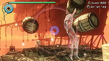 Player character and three barrels floating in the air. At the center there is a circular sight. In the upper left hand corner there is a green bar. In the upper right hand corner there is a score indicator and a timer.