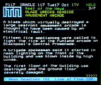ORACLE (teletext) - A typical ORACLE page, here showing news from ITN.