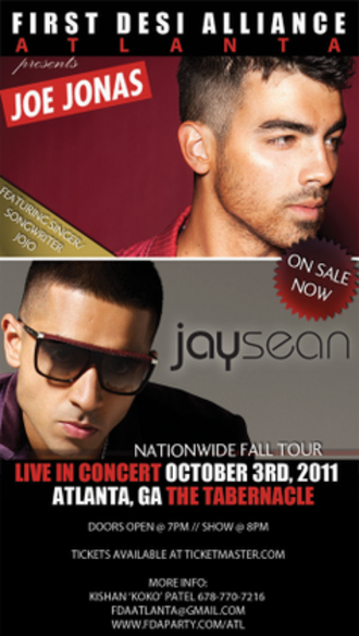 Joe Jonas & Jay Sean: Live in Concert - Promotional poster for the tour