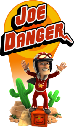 Joe Danger standing in front of the game's logo