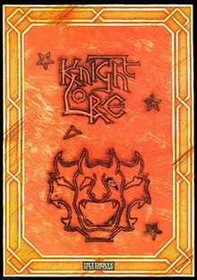 "Atop an orange and worn background is ""Knight Lore"" in seared, stylized, black, interlocked, and outlined lettering. Surrounding the title are similarly styled stars and three gargoyle masks: one faces perpendicular from the plane and two identical masks in profile view face to its left and right. Around the border are yellow, semi-Celtic interwoven lines. The Ultimate logo is very small and centered at the bottom."