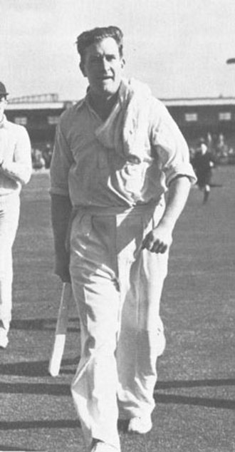 Jim Laker - Jim Laker leaves the field after taking 19 for 90 at Old Trafford in 1956.