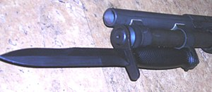 Bayonet lug - Bayonet mounted on a Mossberg 590A1