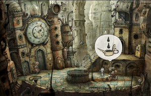 Machinarium - A screenshot from Machinarium, demonstrating the hand-drawn backgrounds and the communication of objectives through pictorial thought bubbles.