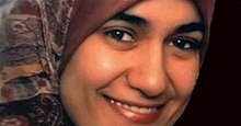 Marwa El-Sherbini wearing an Islamic headscarf and smiling