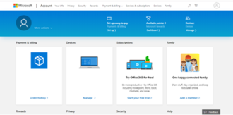Microsoft account - Screenshot of Microsoft account overview page
