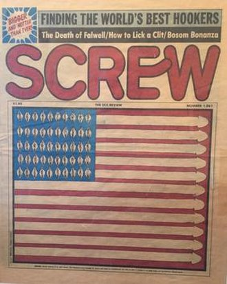 Screw (magazine) - The cover of issue 1,061 which replaced the stars and stripes with female and male genitals. Designed by Mikhail Armalinsky