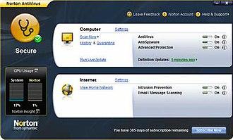 Norton AntiVirus - The main user interface of Norton AntiVirus 2009