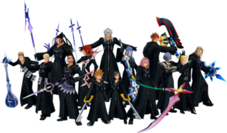 Organization XIII - The original members of Organization XIII displaying their weapons. From left to right: Demyx, Luxord, Xaldin, Xigbar, Axel, Roxas, Xemnas, Xion, Saïx, Marluxia, Lexaeus, Zexion, Larxene and Vexen.