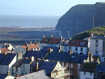 Penny Nab at Staithes, North Yorkshire. text
