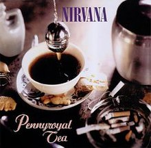 "A cup of tea being brewed in a cup. A spoon, biscuits and an ashtray filled with cigarette buts surround the cup. On top of the cup, blue text in block capitals reads ""Nirvana"" and under the cup, orange italicised text reads ""Pennyroyal Tea."""