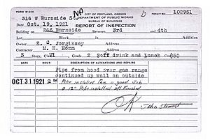 Dante's - Building permit from 1921