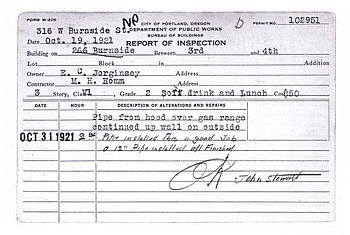 Building permit from 1921