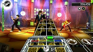 Rock Band Unplugged - The player must repeatedly switch between four different instruments to complete a song.