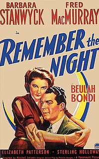 <i>Remember the Night</i> 1940 film by Mitchell Leisen