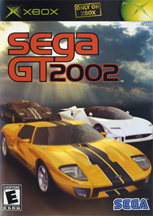 Sega GT 2002 - North American cover art, featuring the Ford GT, Ford GT90, and Ford GT40